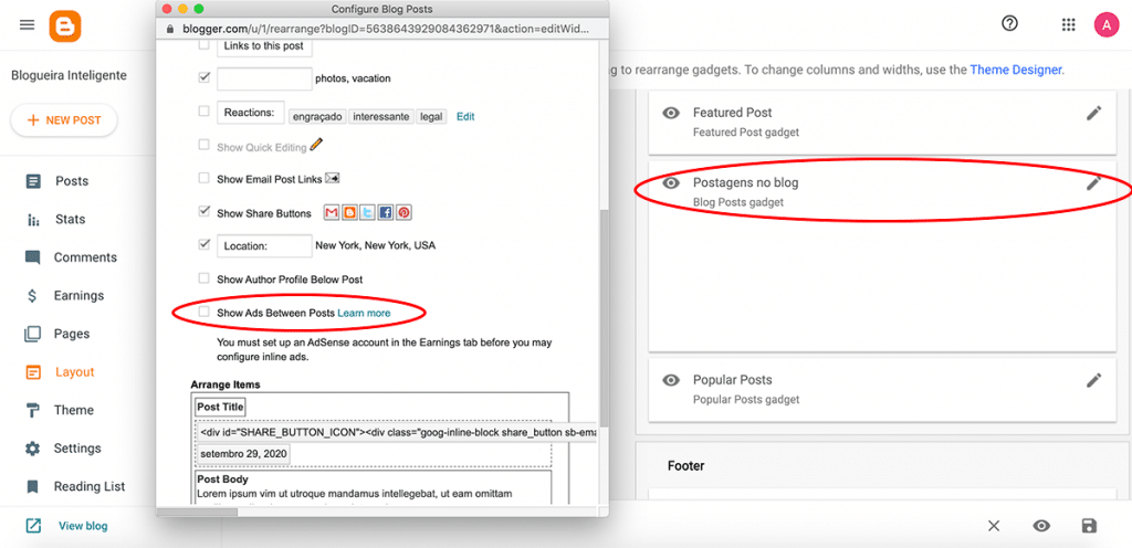 Como ganhar dinheiro com anúncios no seu blog: Inserindo anúncios no Blogger