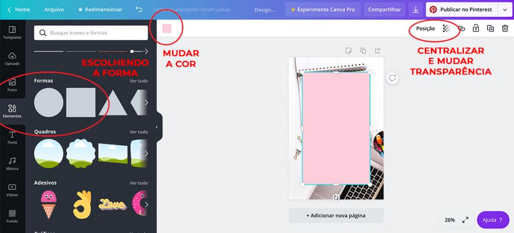 Como criar imagens para o Pinterest usando o Canva – Adicionando formas